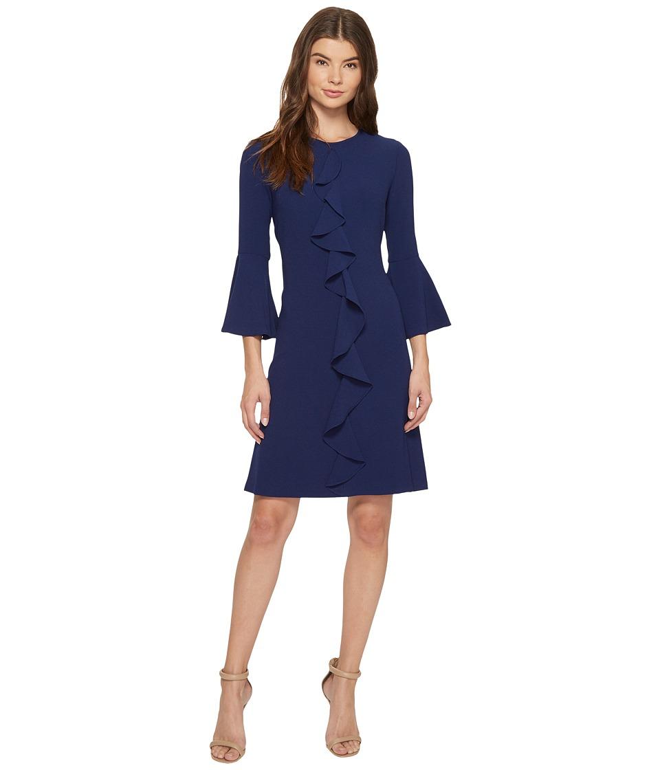 Christin Michaels Iris 3/4 Sleeve Keyhole Dress (Navy/Multi) Women