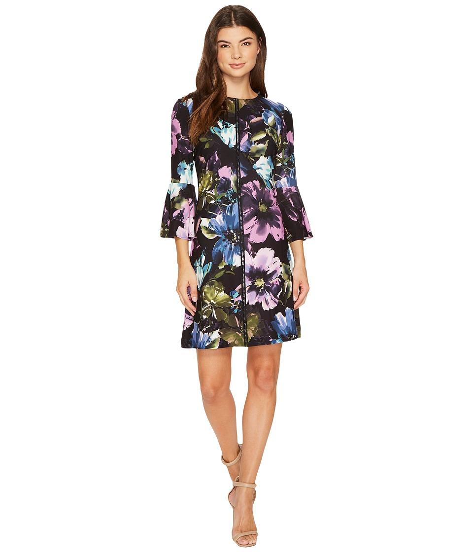 Christin Michaels Augusta Bell Sleeve Floral Dress (Black/Multi) Women
