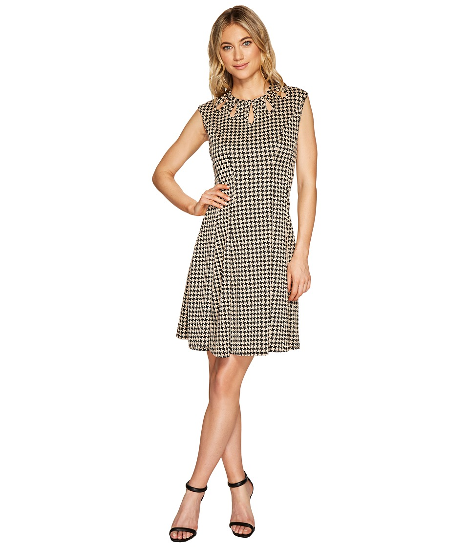 Christin Michaels - Lucy Sleeveless Houndstooth Dress with Neck Detail