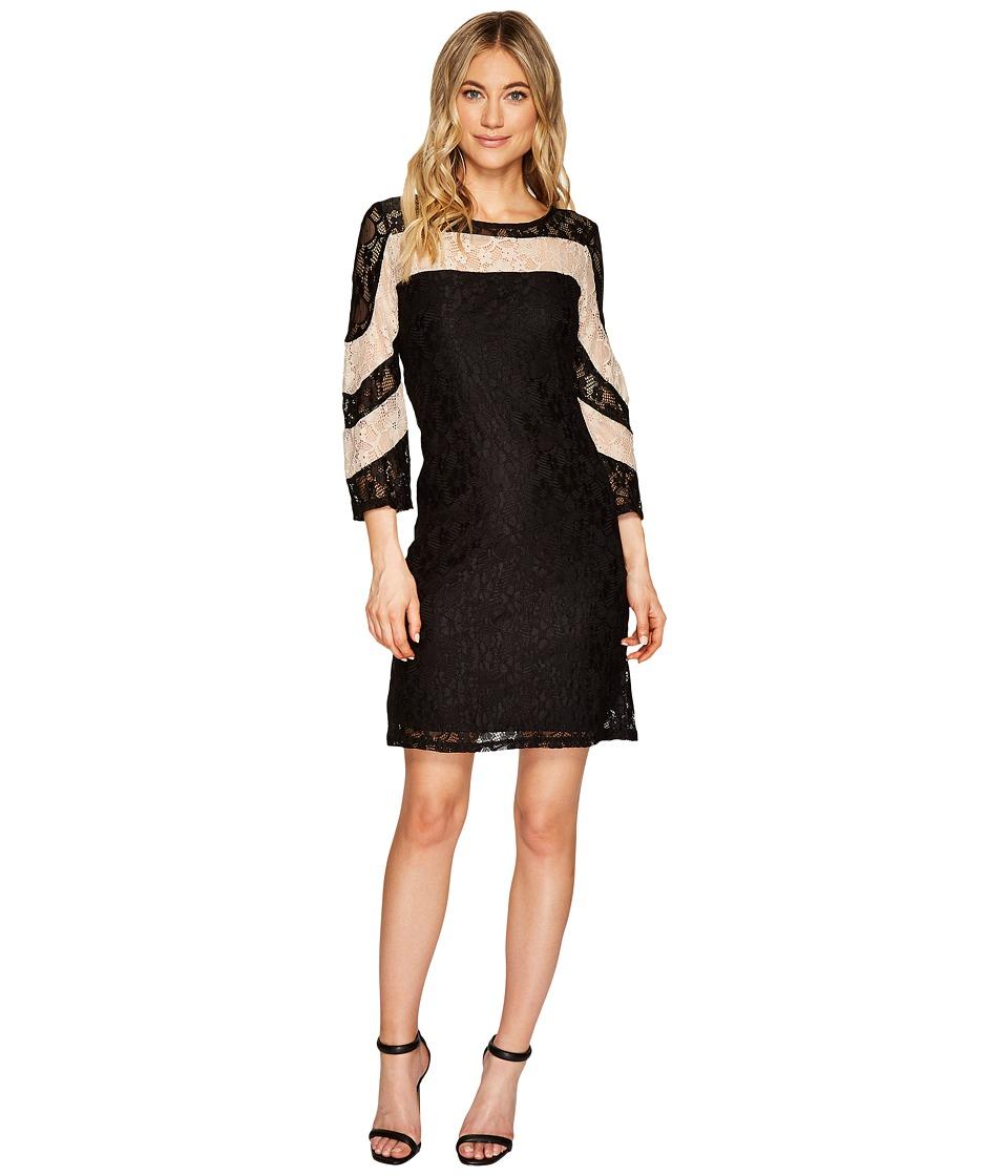 Christin Michaels Hazel Two-Tone Lace Dress (Black/Sand) Women