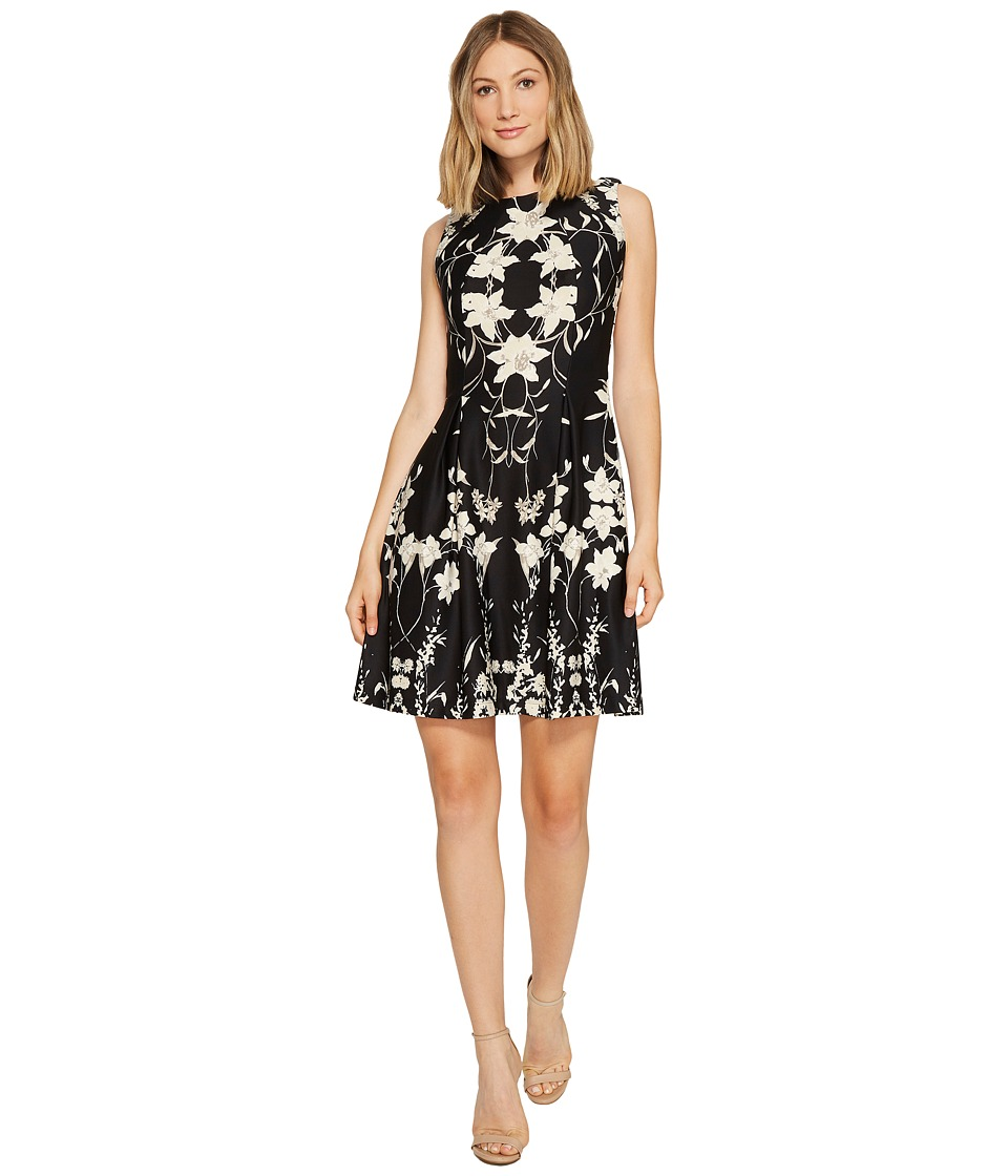 Christin Michaels Chantelle Sleeveless Fit and Flare Dress (Black/Ivory) Women