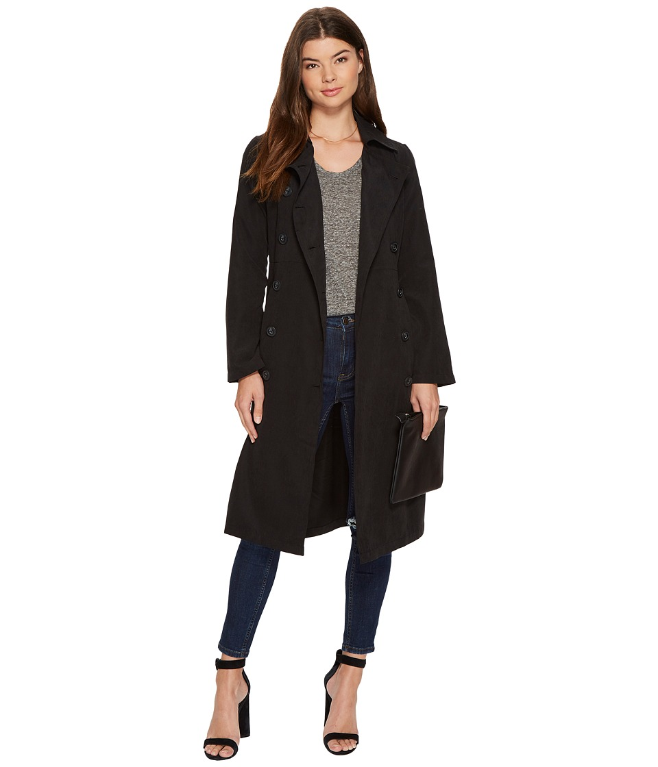 Jack by BB Dakota Lexia Belted Trench Coat (Black) Women