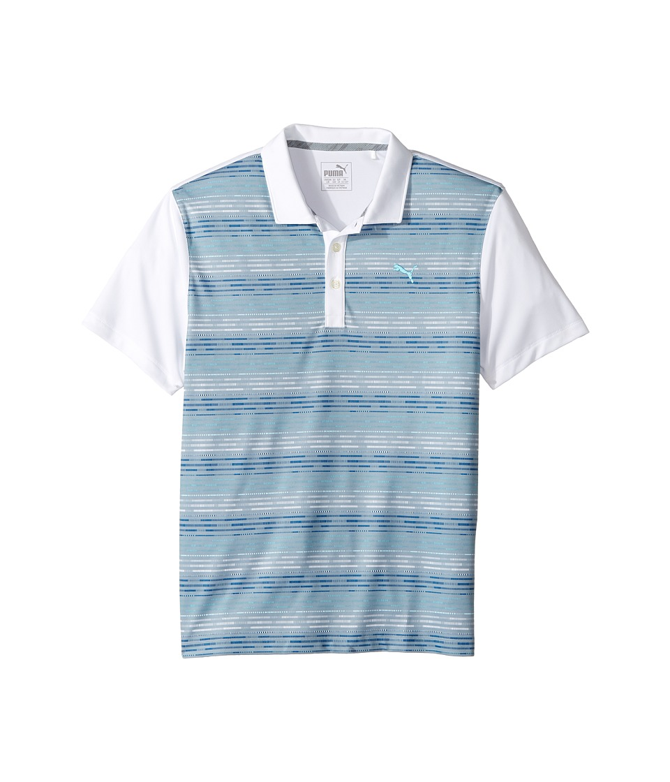 PUMA Golf Kids - Road Map Polo JR (Big Kids) (Bright White/Bluefish) Boys Clothing
