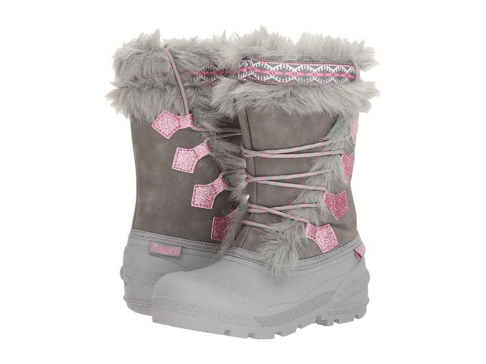 Tundra Boots Kids Carol (Little Kid/Big Kid) (Grey) Girls Shoes