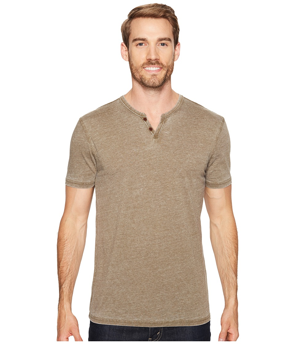 Lucky Brand Burnout Notch Neck Tee (Dark Olive) Men