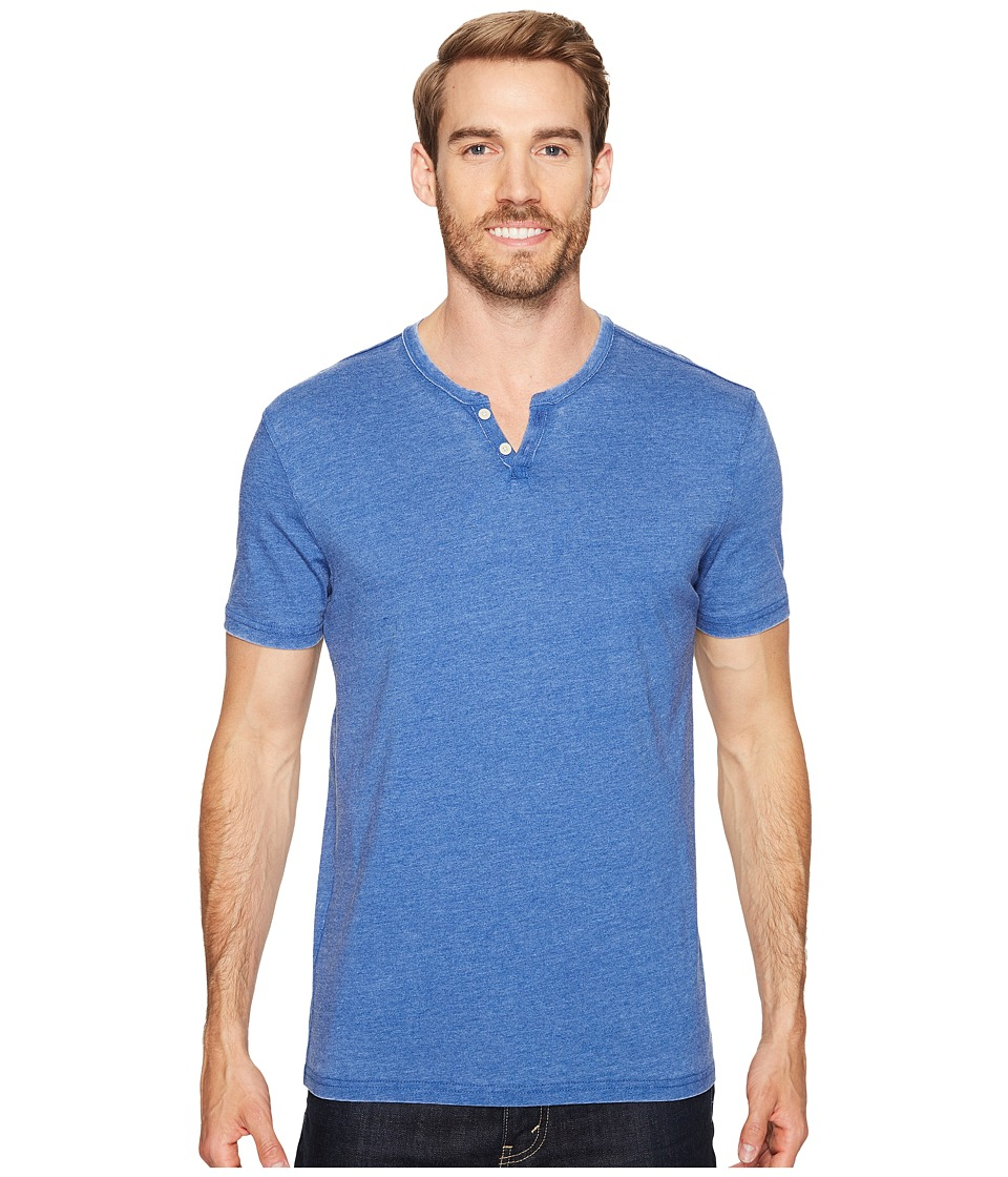 Lucky Brand Burnout Notch Neck Tee (Monaco Blue) Men