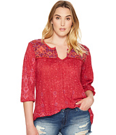Lucky Brand - Plus Size Embroidered Slit Neck Top