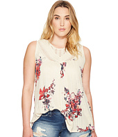 Lucky Brand - Plus Size Floral Print Crochet Tank Top