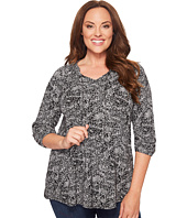 Lucky Brand - Plus Size Black & White Printed Top