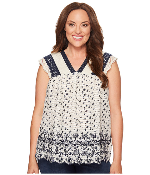 Lucky Brand Plus Size Printed Embroidered Flutter Top