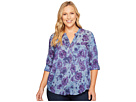 Plus Size Printed Chambray Popover Top