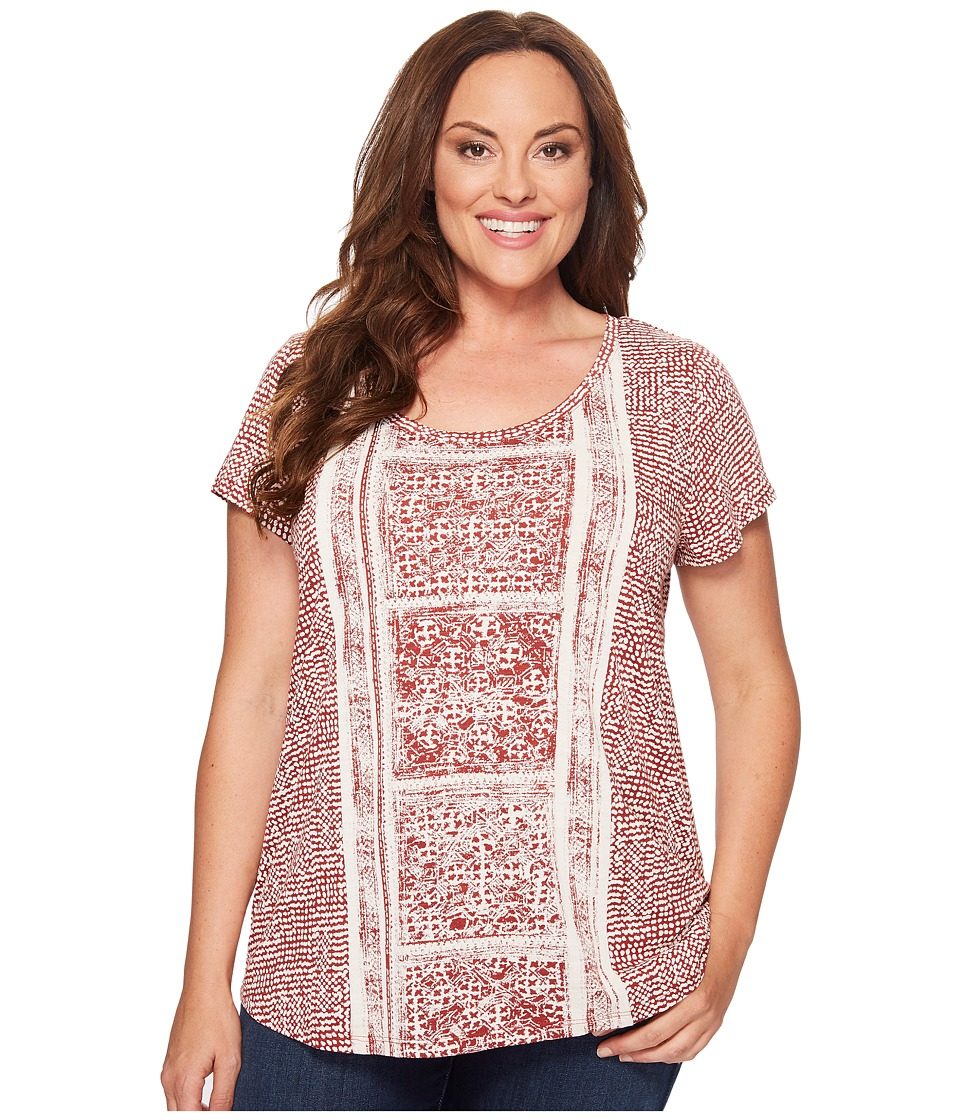 Lucky Brand Plus Size Spiced Red Printed Tee (Rust Multi) Women