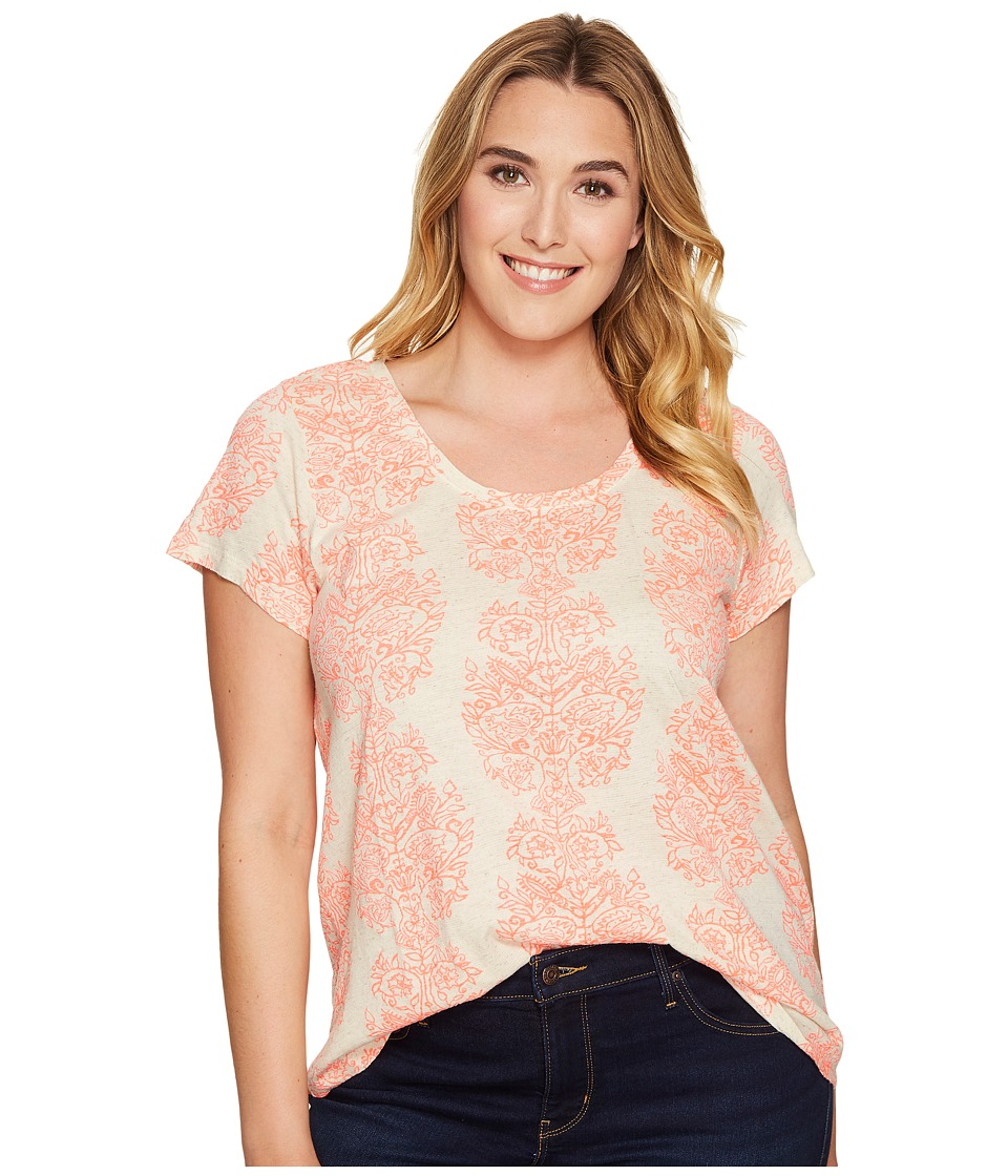 Lucky Brand Plus Size Neon Woodblock Tee (Natural Multi) Women