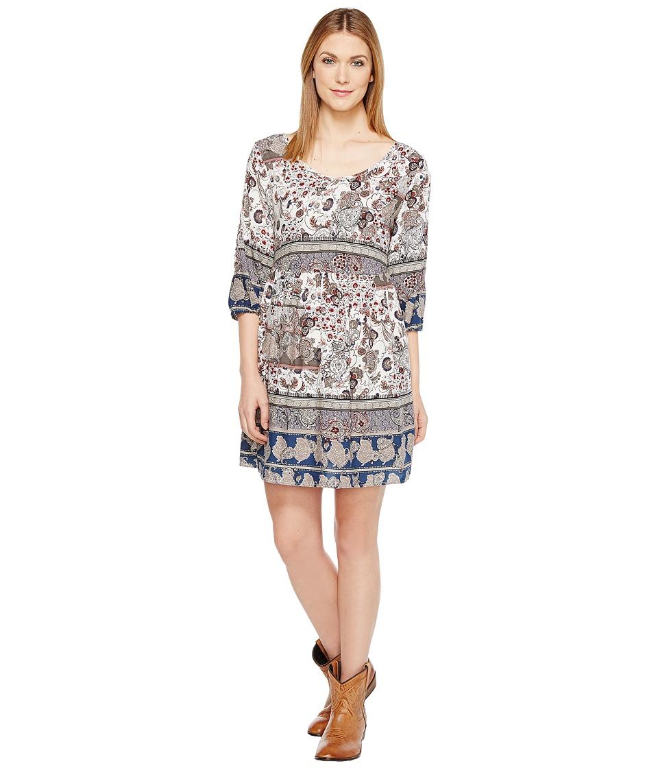 Roper 1130 Blue/Grey Border Print Rayon Dress (Blue) Women