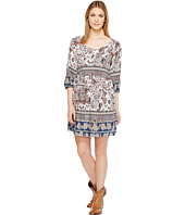 Roper - 1130 Blue/Grey Border Print Rayon Dress