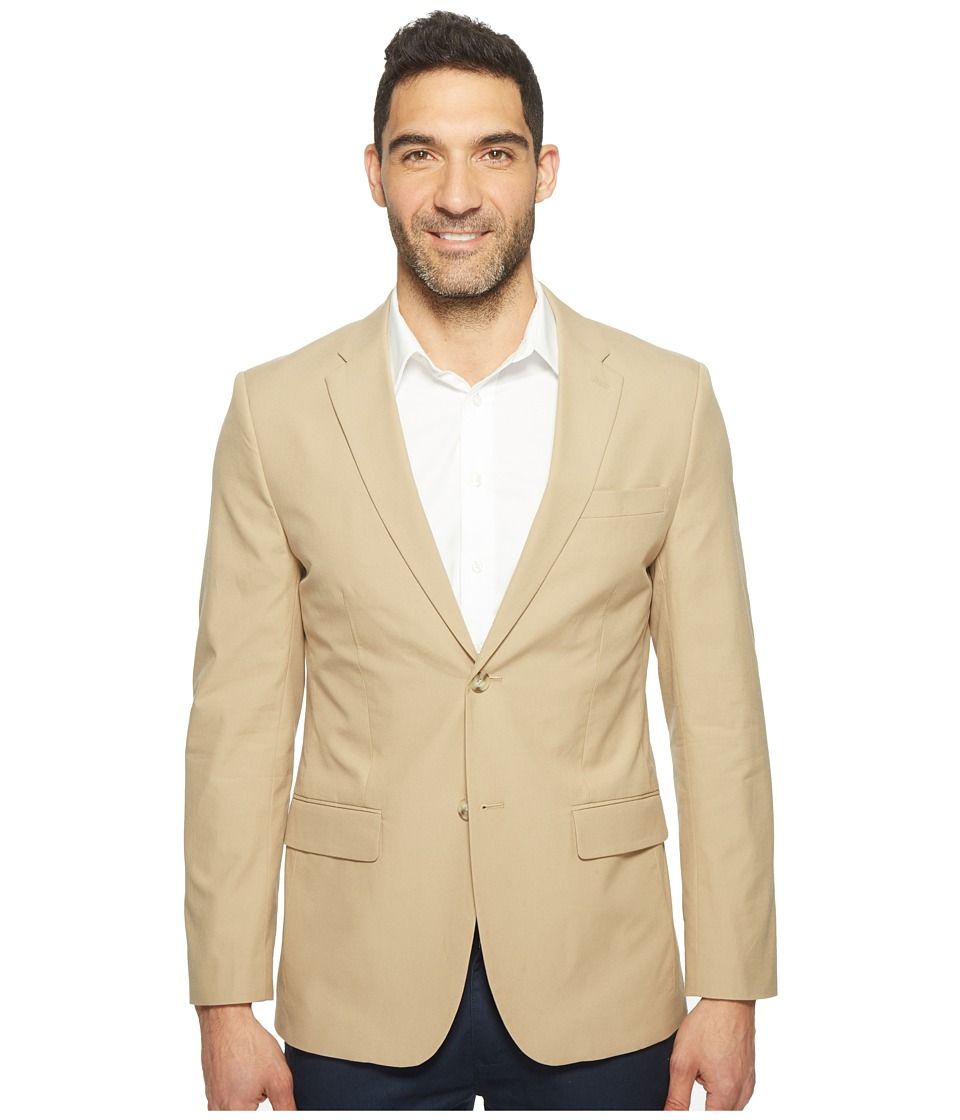 Perry Ellis Slim Fit Travel Luxe Cotton Jacket (Pale Khaki) Men