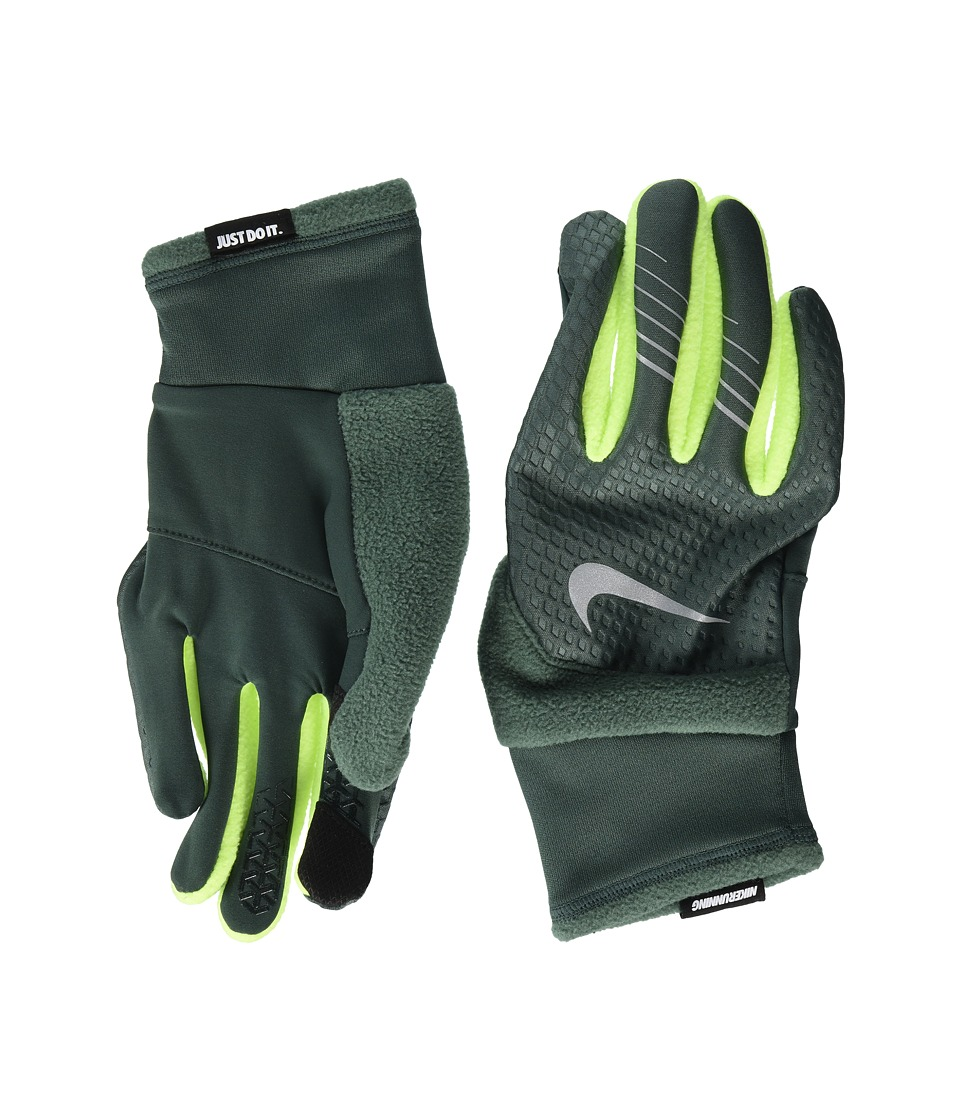 Nike Therma-Fit Elite Run Gloves (Vintage Green/Volt/Silver) Cycling Gloves