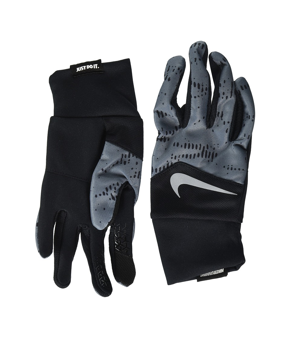 Nike Printed Dri-Fit Tempo Run Gloves (Black/Armory Blue/Silver) Cycling Gloves