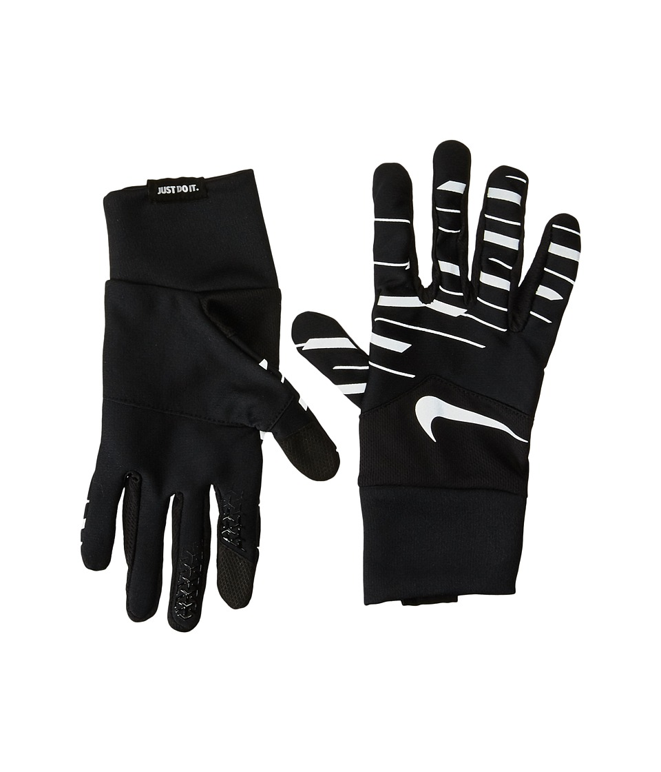 Nike Printed Dry Tempo 360 Flash Run Gloves (Black/Silver/Silver) Cycling Gloves