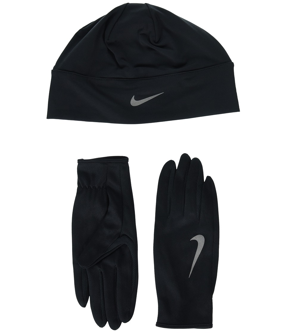 Nike - Run Dry Hat and Gloves Set (Black/Black/Silver) Athletic Sports Equipment