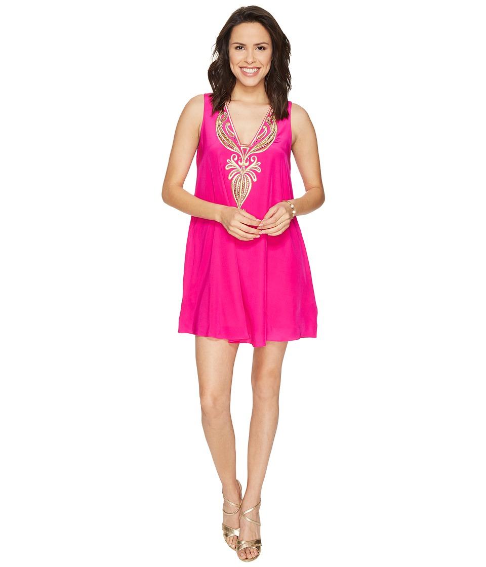 Lilly Pulitzer Owen Silk Trapeze Dress (Magenta) Women