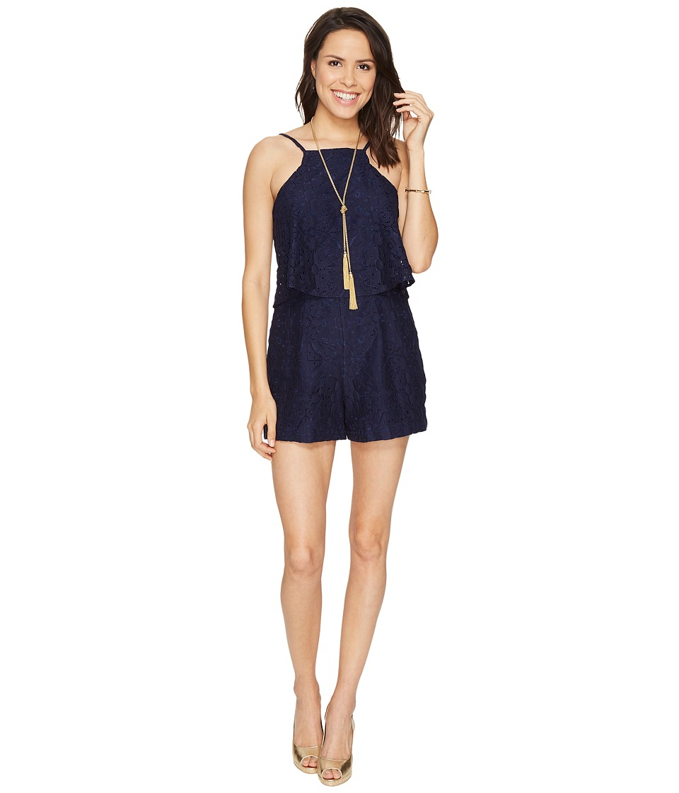 Lilly Pulitzer Celyn Romper (True Navy Tic Tac Tile Lace)...