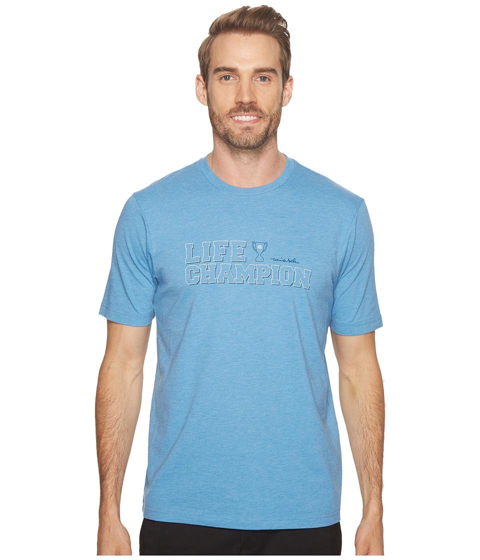 TravisMathew - Life Champion (Heather Blue) Mens T Shirt