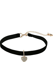 Betsey Johnson - Pave Heart Charm Choker Necklace