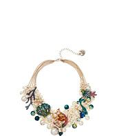 Betsey Johnson - Mermaid & Seashell Frontal Shaky Pearl Mesh Necklace