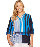 NIC+ZOE - Plus Size Blue Blocks Top
