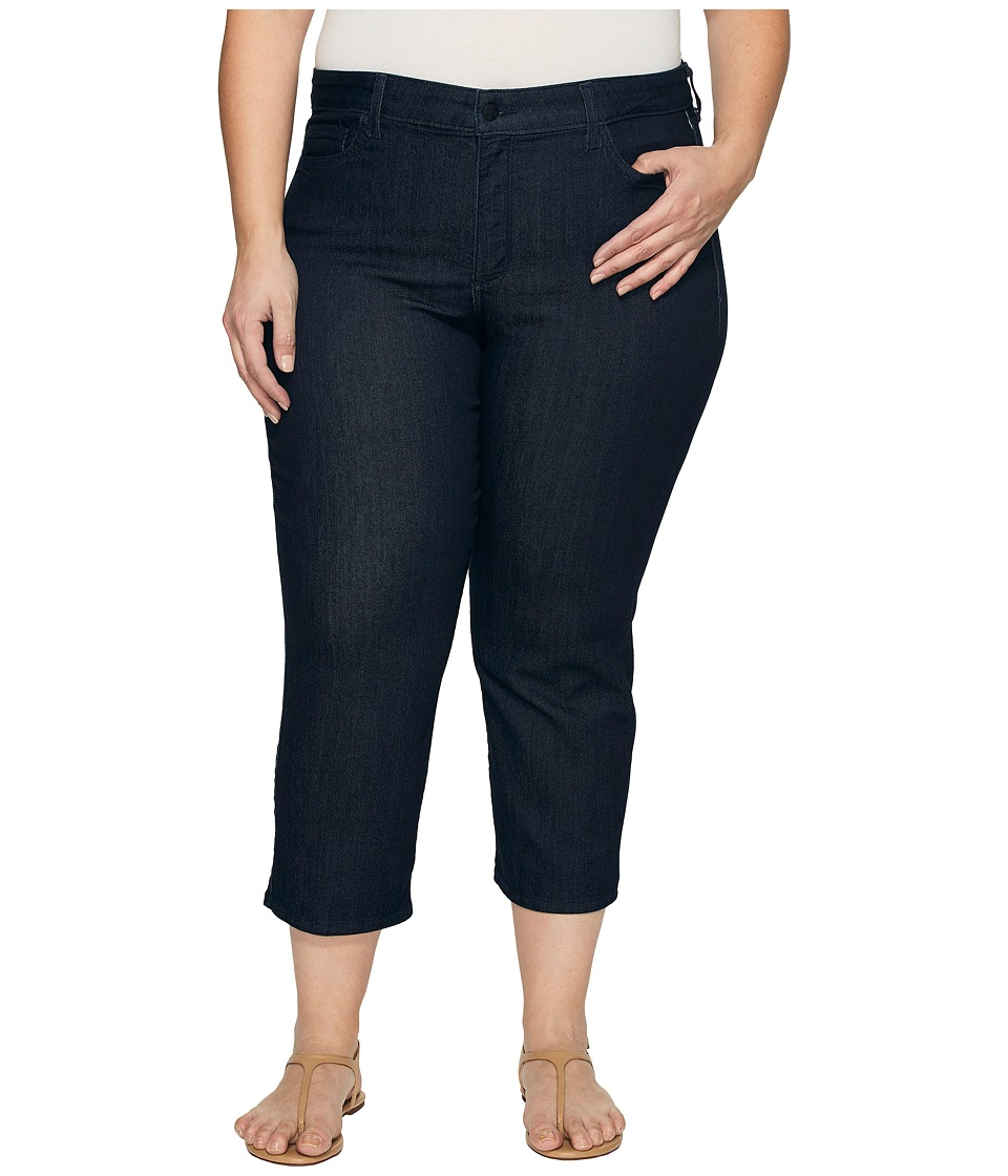 NYDJ Plus Size Plus Size Marilyn Capris in Dark Enzyme Wash (Dark Enzyme Wash) Women