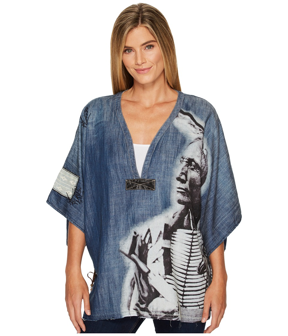 Double D Ranchwear - Story of Lone Feather Poncho (Dark Denim) Womens Coat