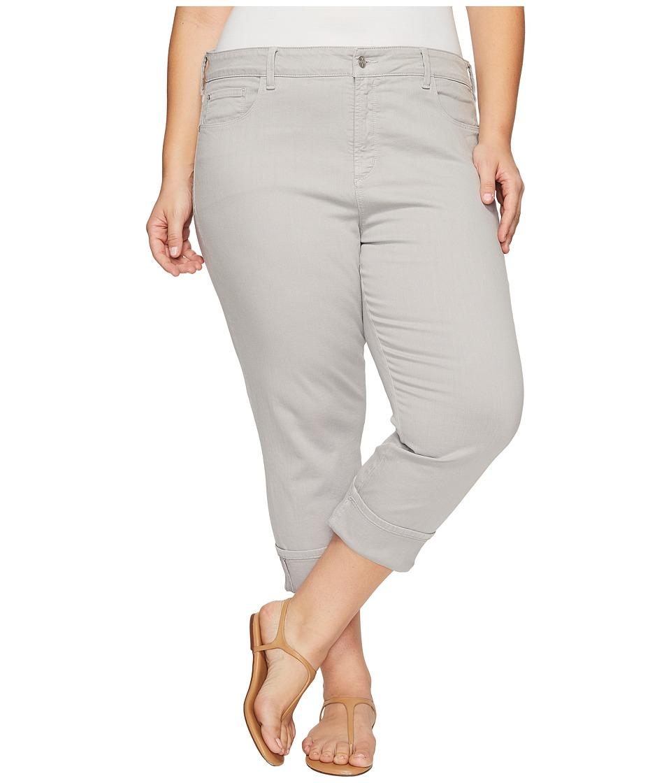 NYDJ Plus Size Plus Size Dayla Wide Cuff Capris in Moonstone Grey (Moonstone Grey) Women