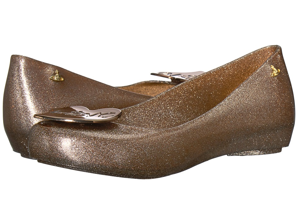 + Melissa Luxury Shoes - Vivienne Westwood Anglomania + Melissa Ultragirl XVIII (Glitter Brown) Womens Flat Shoes