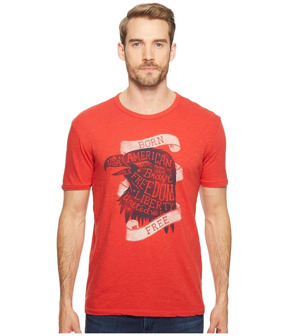 Lucky Brand Born Free Graphic Tee (Pompeian Red) Men