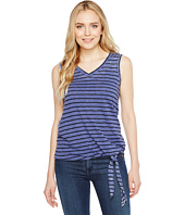 Allen Allen - Stripe Side Tie V-Neck Tank Top