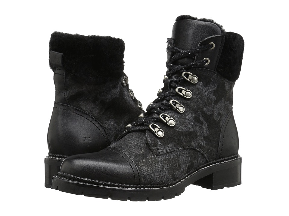 Frye - Samantha Hiker (Black Wool/Washed Tumbled Full Grain) Womens Lace-up Boots
