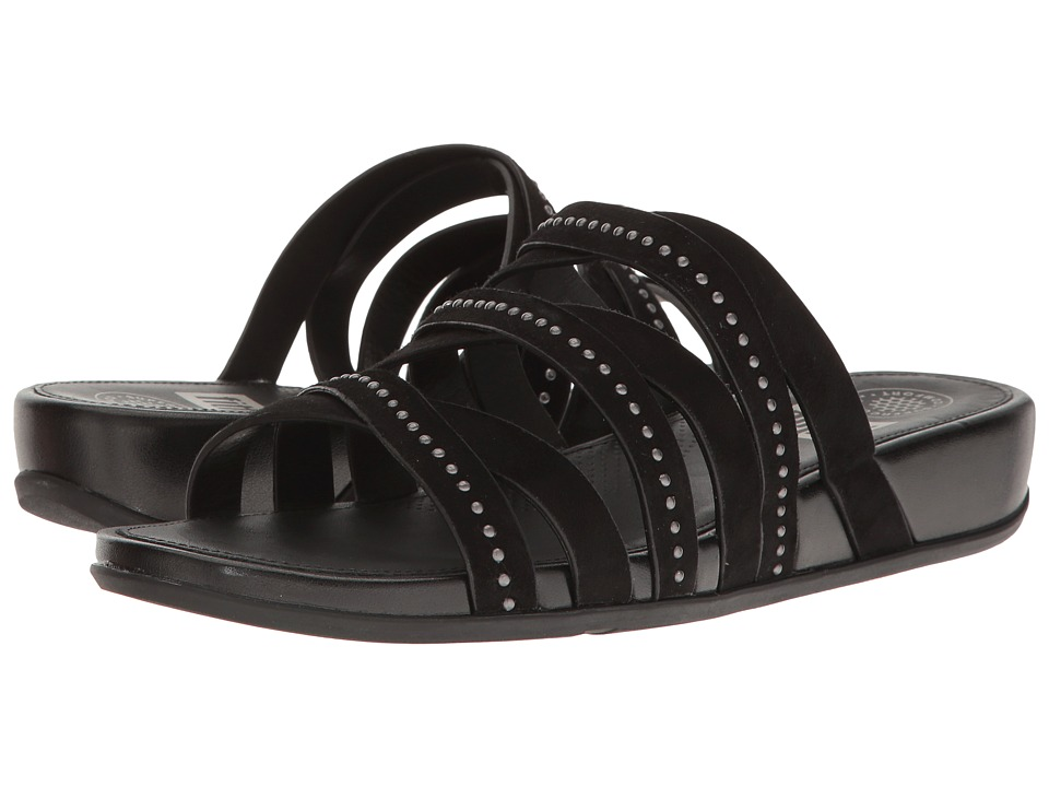 FitFlop Lumy Leather Slide w/ Studs (Black) Women