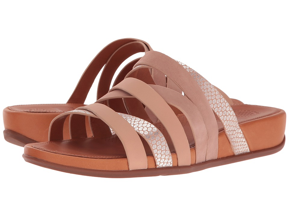 FitFlop Lumy Leather Slide (Peachy/Silver Snake) Women