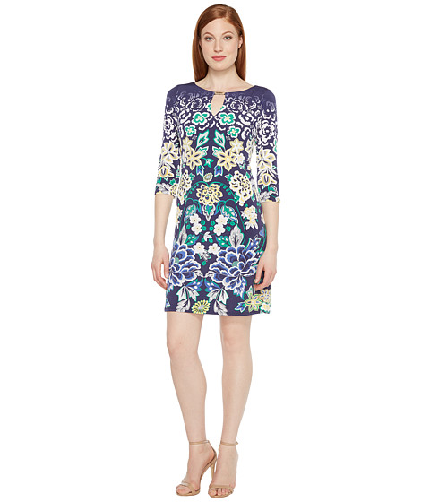 Sangria Printed Shift Dress with Keyhole Neckline