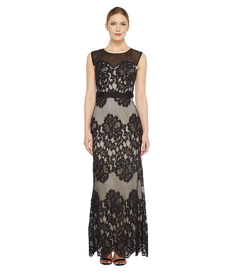 Sangria Sleeveless Lace Gown