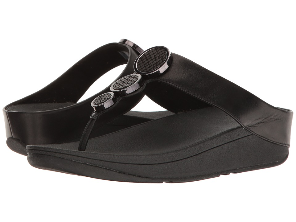 FitFlop - Halo Toe Thong Sandals (Black) Womens  Shoes