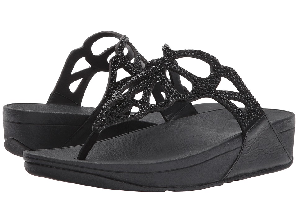 FitFlop - Bumble Crystal Toe Post (Black) Womens  Shoes