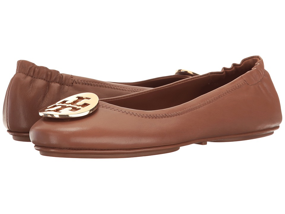 Tory Burch Minnie Travel Ballet Flat (Royal Tan/Gold) Women's Shoes