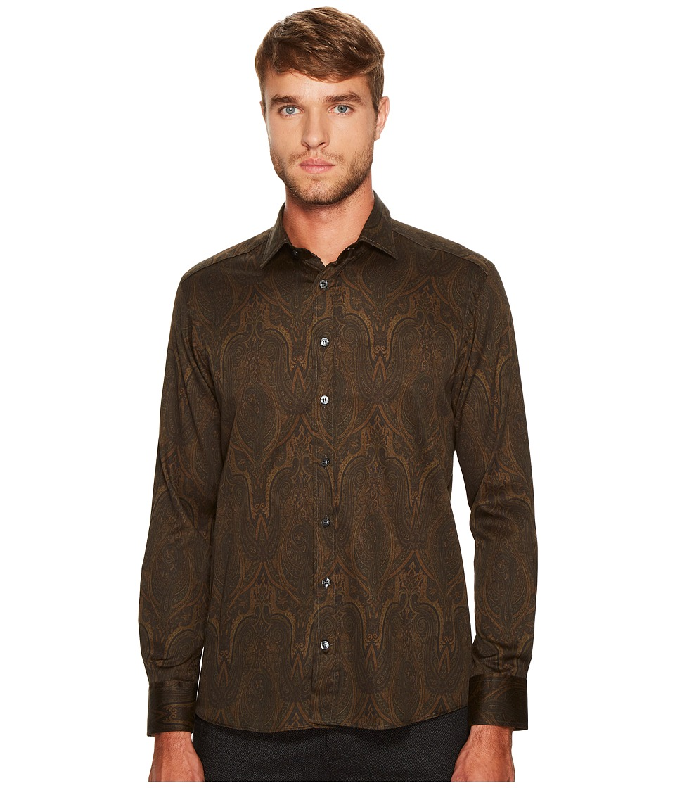 Etro - Shadow Paisley Button Down (Ochre) Men's Long Sleeve Button Up