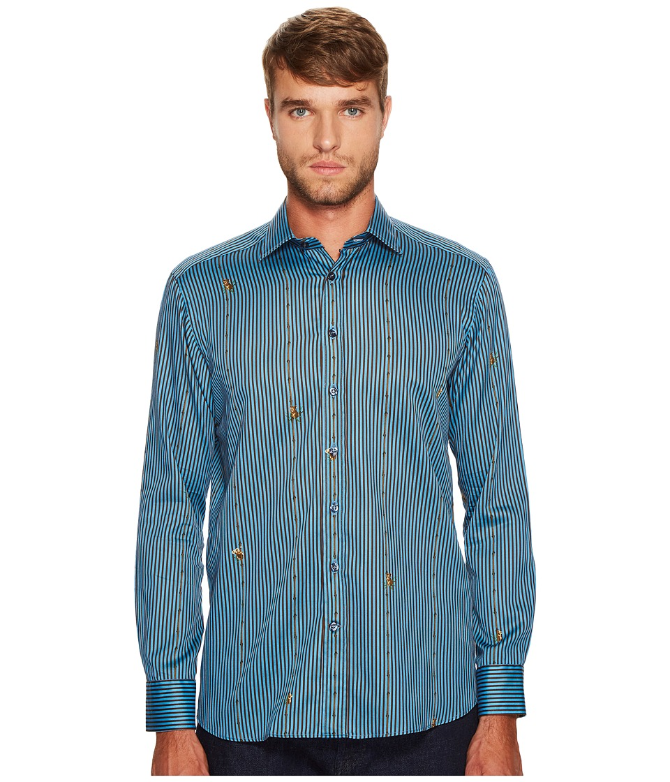 Etro - Koala Stripe Button Down Shirt (Blue) Men's Long Sleeve Button Up