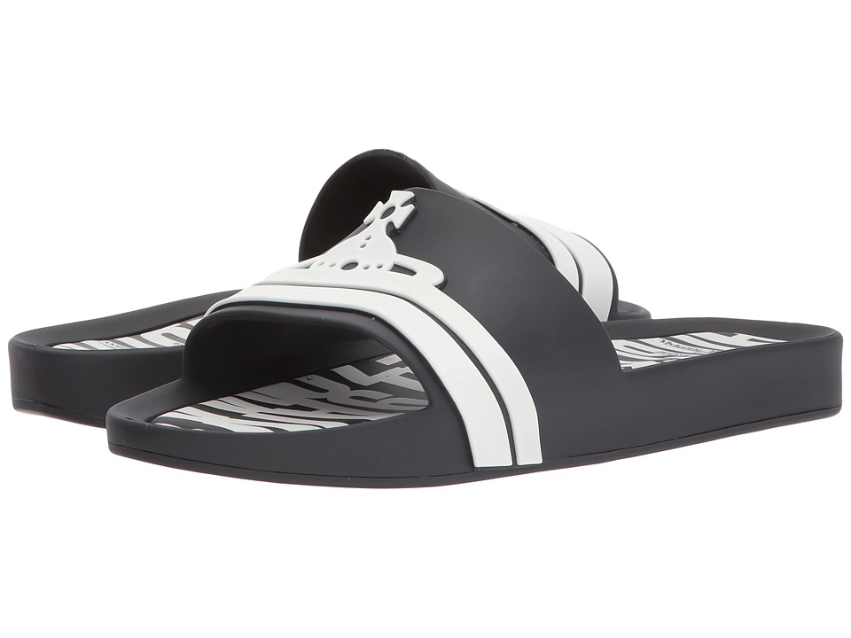 + Melissa Luxury Shoes - Vivienne Westwood Anglomania + Melissa Beach Slide (Black/White) Womens Slide Shoes