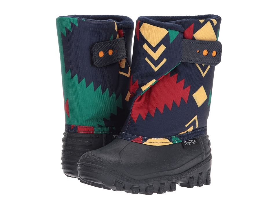 Tundra Boots Kids Teddy 4 (Toddler/Little Kid) (Navy/Red Aztec) Boys Shoes