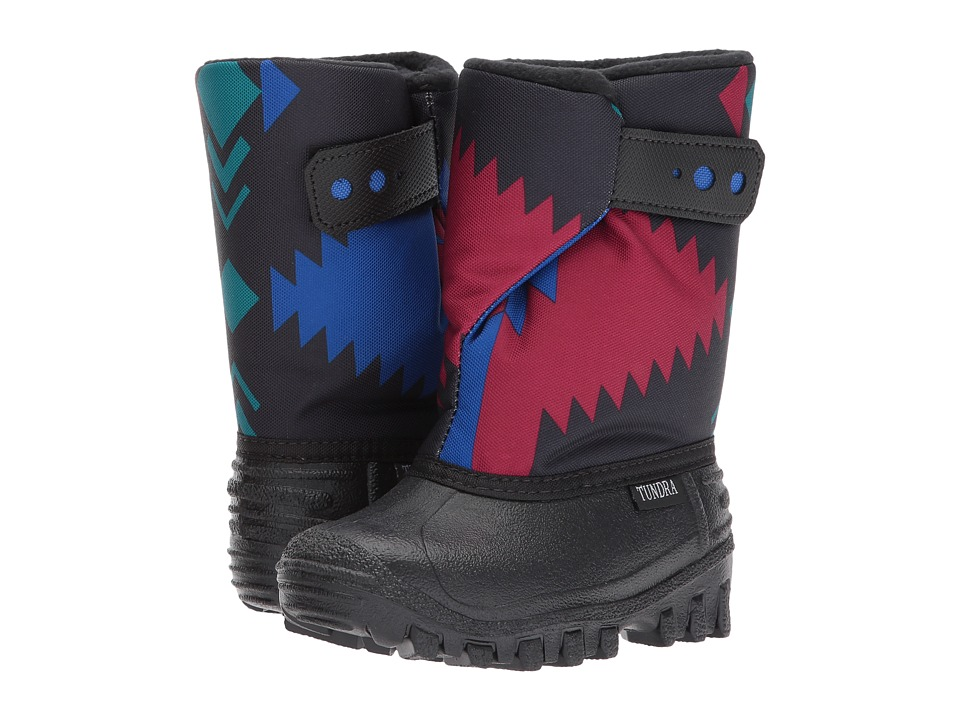 Tundra Boots Kids Teddy 4 (Toddler/Little Kid) (Black/Royal Aztec) Boys Shoes