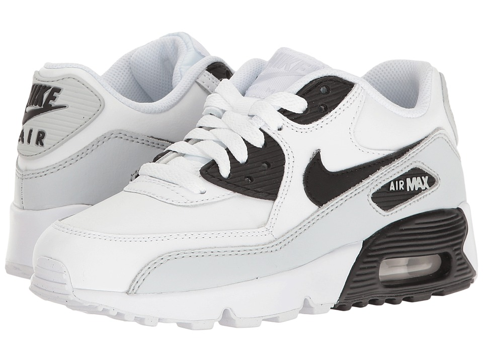 Nike Kids Air Max 90 LTR (Big Kid) (White/Black) Kids Shoes